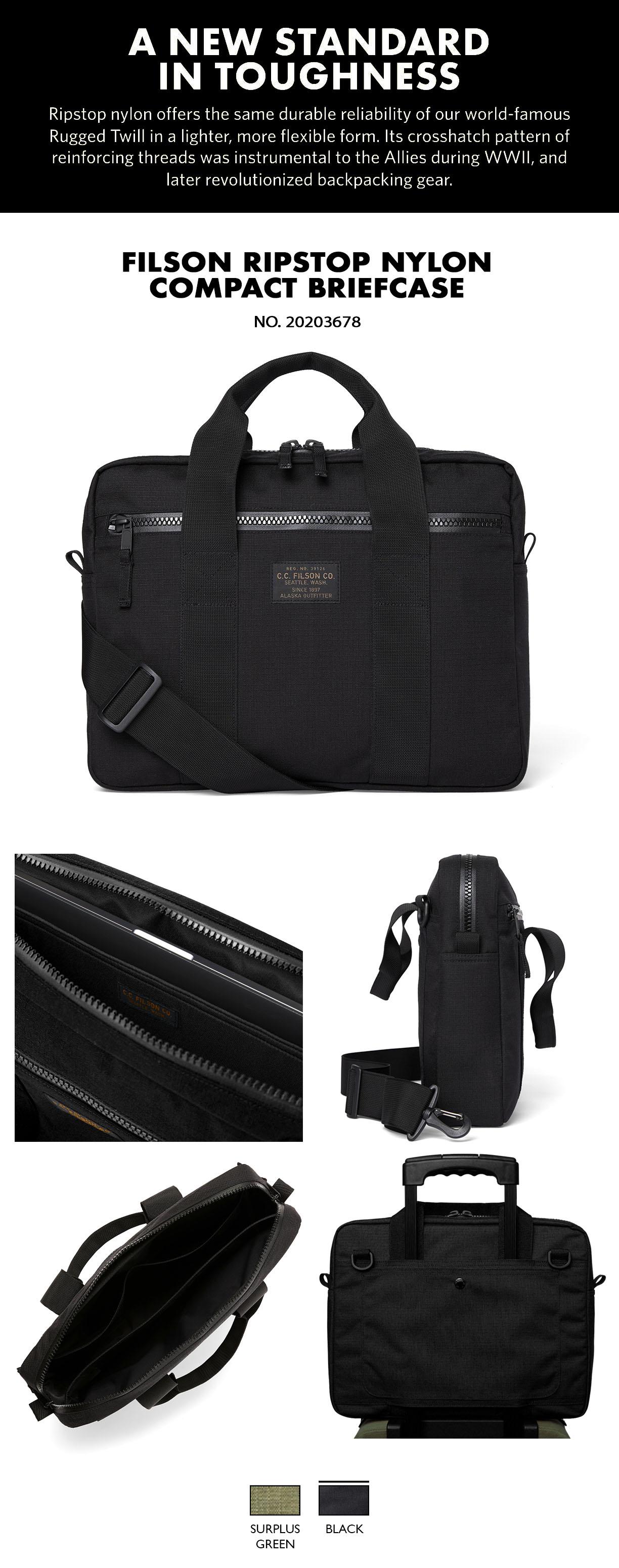 Filson Ripstop Nylon Compact Briefcase Black Product-information, verfügt über ein gepolstertes Fach für einen 15-Zoll-Laptop