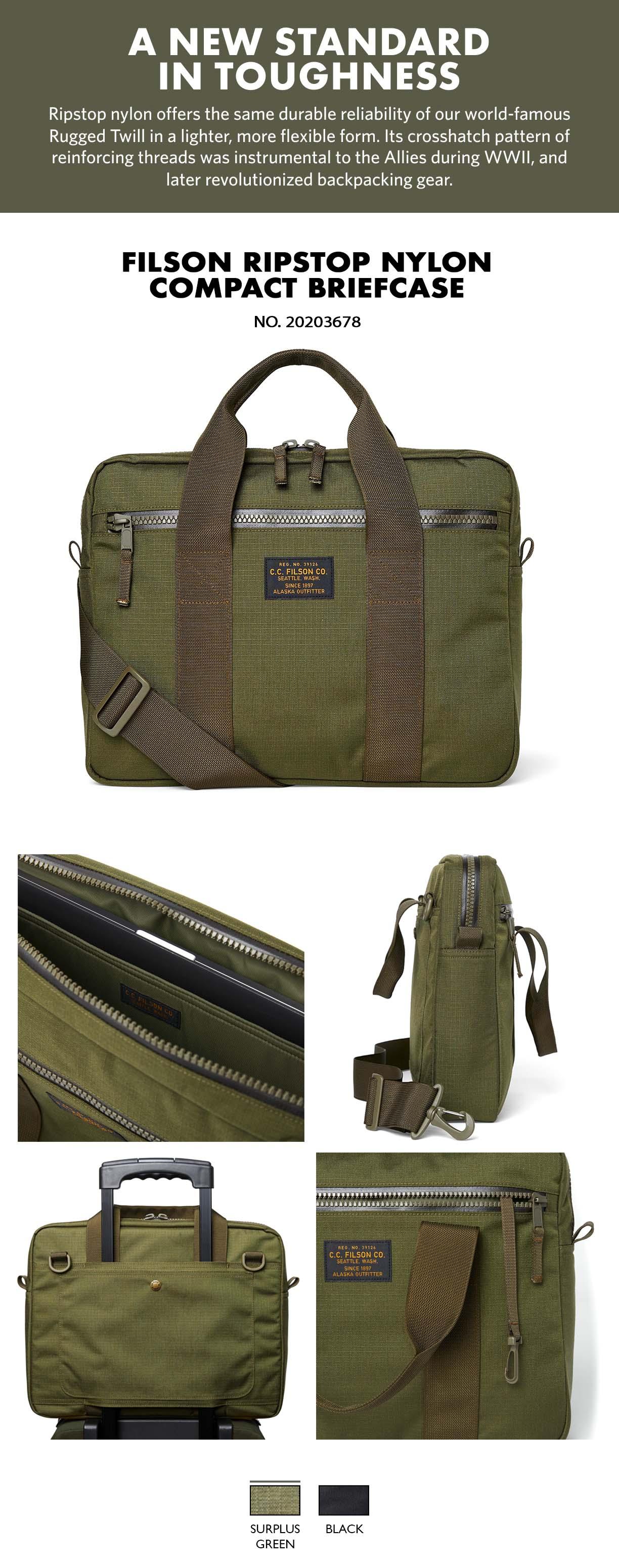 Filson Ripstop Nylon Compact Briefcase Surplus Green Product-information, verfügt über ein gepolstertes Fach für einen 15-Zoll-Laptop