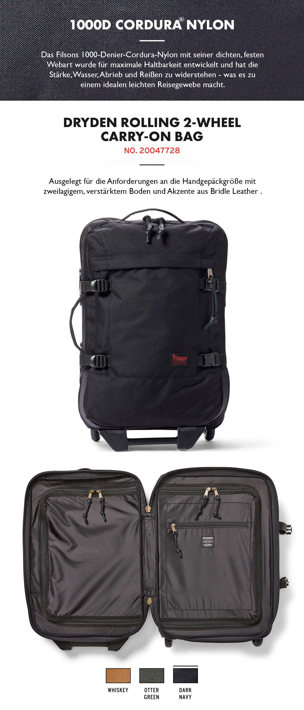Filson Dryden 2-Wheel Rolling Carry-On Bag Dark Navy Produktinformationen