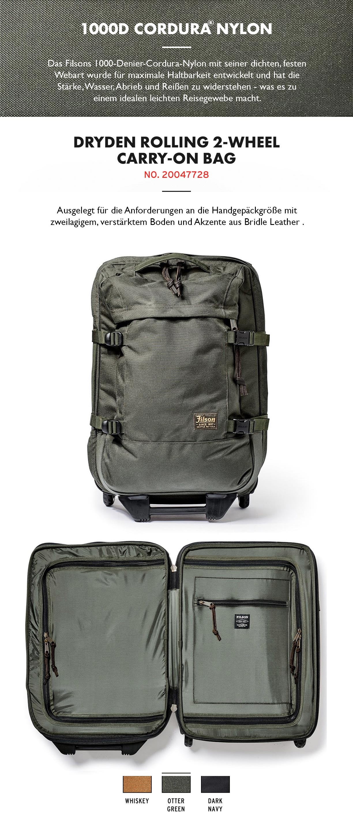 Filson Dryden 2-Wheel Rolling Carry-On Bag Otter Green Produktinformationen