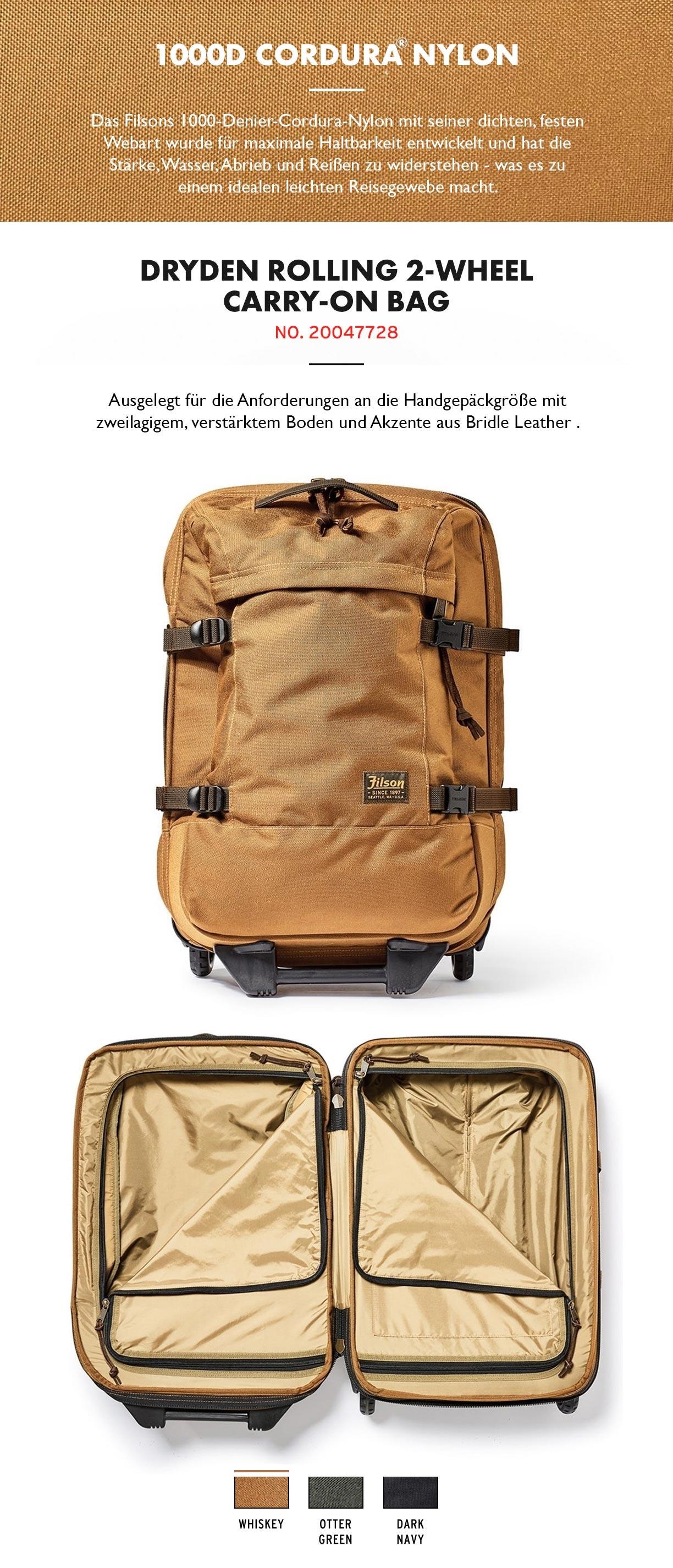 Filson Dryden 2-Wheel Rolling Carry-On Bag Whiskey Produktinformationen