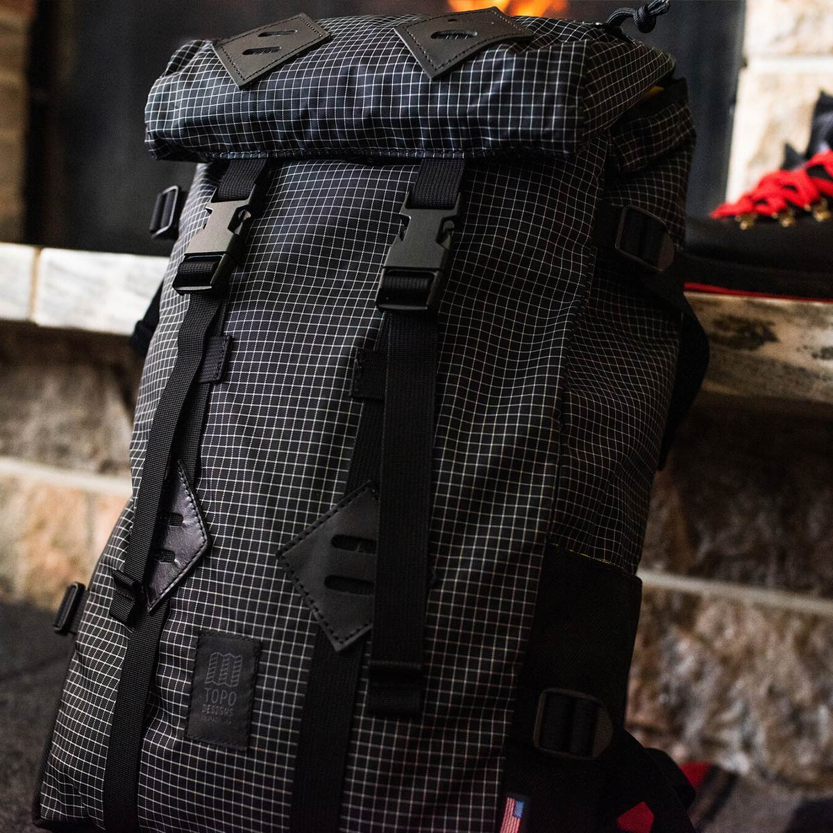Topo Designs Klettersack Black/White Ripstop classic backpack in Ripstop from Topo Designs