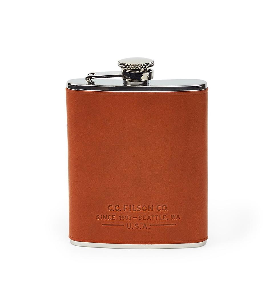 Filson Flask 11069201-Dark Tan  (Leather Wrapped Flask)