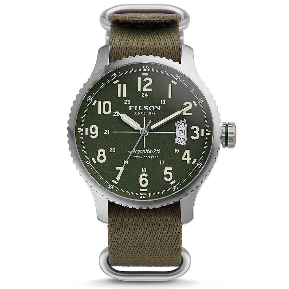 Filson Mackinaw Field Watch 10000307 Green Dail - G10 Nylon Strap