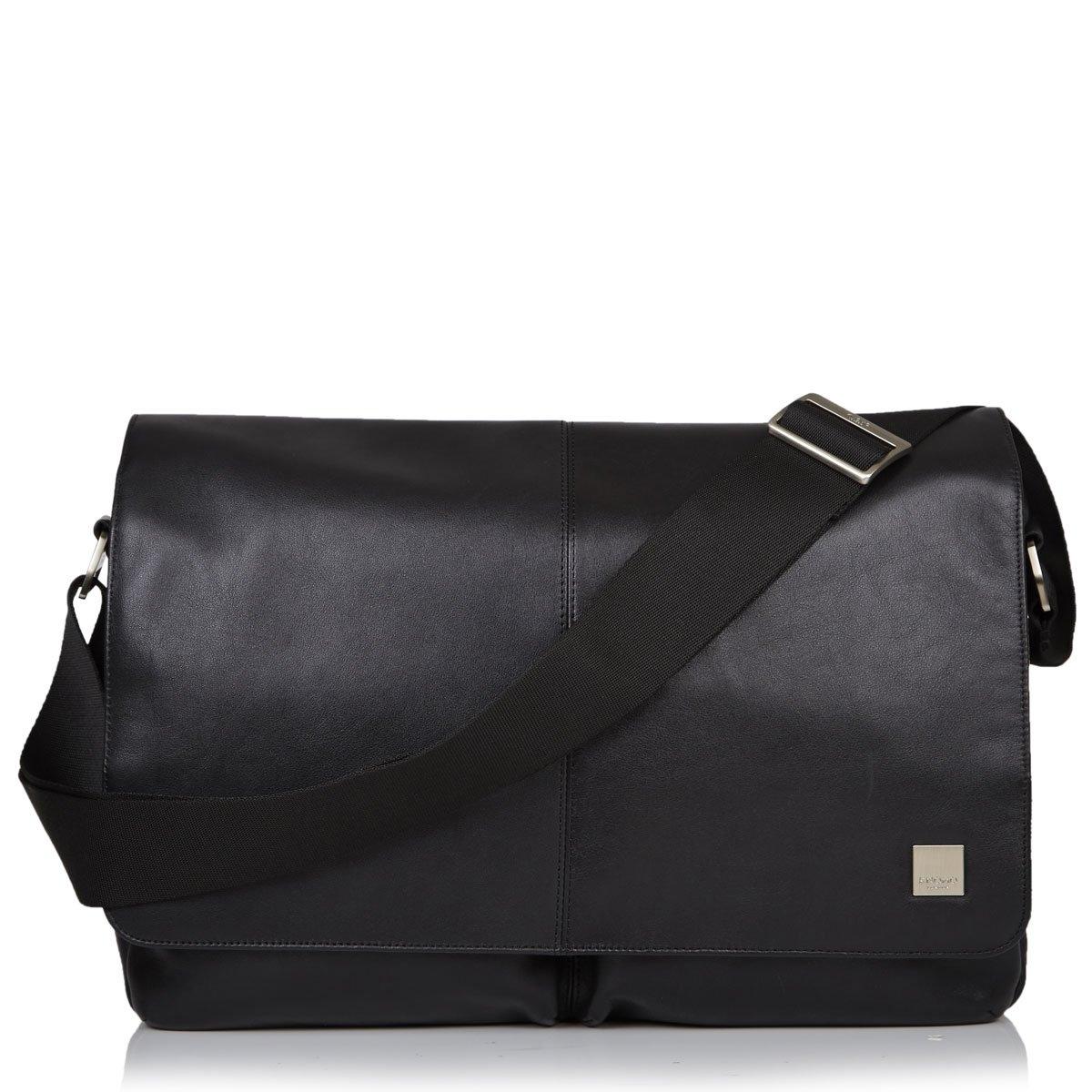 Knomo Kobe 15 Zoll Messengertasche aus Leder Schwarz
