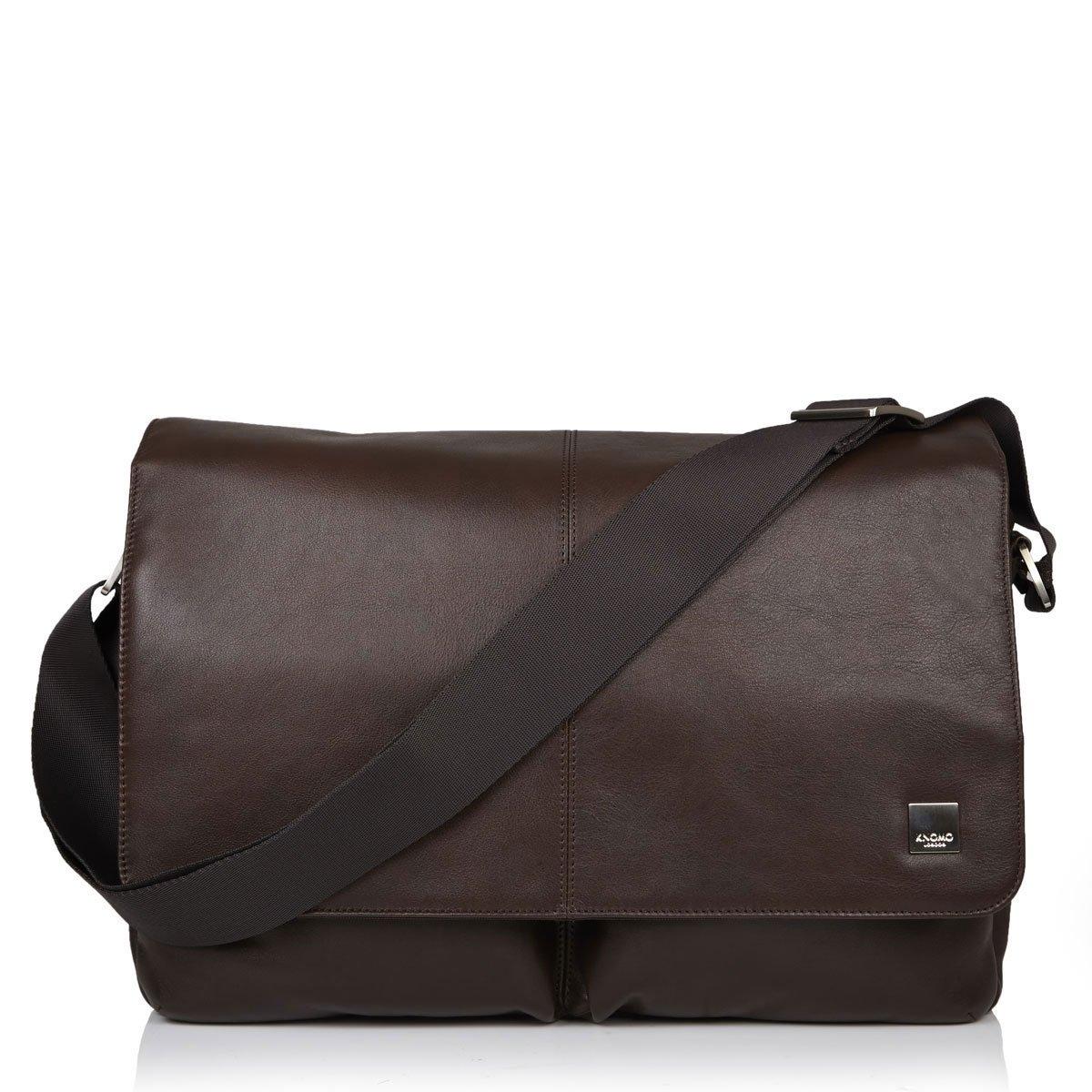 Knomo Kobe 15 Zoll Messengertasche aus Leder Braun