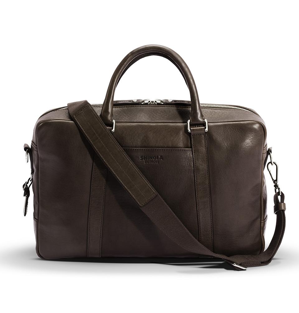 Shinola Slim Briefcase Deep Brown