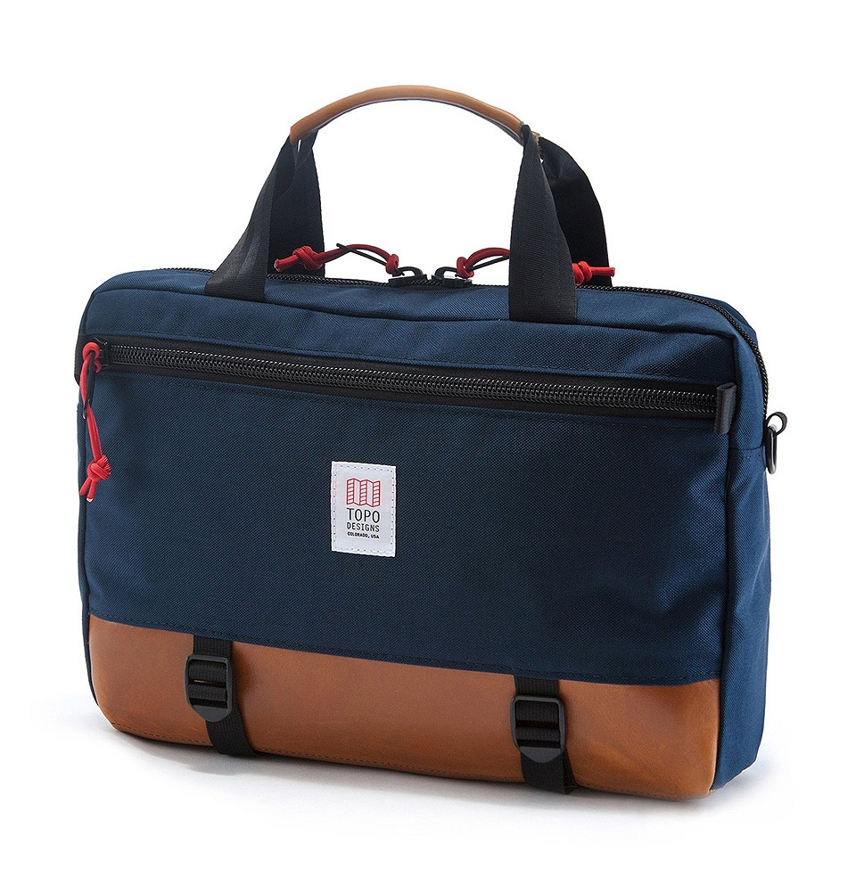 Topo Designs Commuter Briefcase Navy/Brown Leather