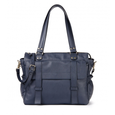 Leren Dames Laptoptas Sarah navy blue