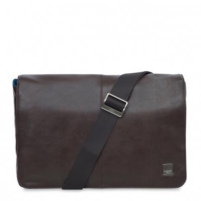 Knomo Kobe Messengertasche aus Leder 15 Zoll Braun