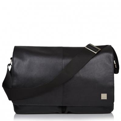 Knomo Kobe Messengertasche aus Leder 15 Zoll Schwarz
