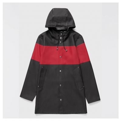 Stutterheim Stockholm Raincoat Stripe Black Red front