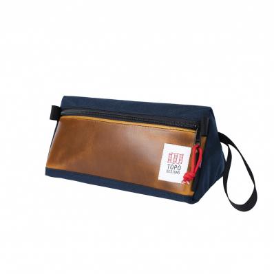 Topo Designs Dopp Kit Heritage Navy/Brown Leather