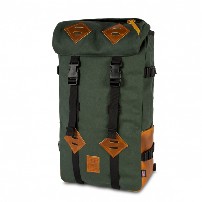 Topo Designs Klettersack Heritage Olive Canvas/Brown Leather