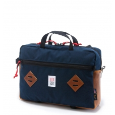Topo Designs Mountain Briefcase Navy/Brown Leather
