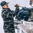 Filson Duffle Medium 11070325 Navy in the snow