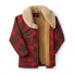 Filson Lined Wool Packer Coat Red/Green/Dark Brown open
