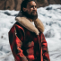 Filson Lined Wool Packer Coat Red/Green/Dark Brown lifestyle in the snow
