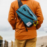 Topo Designs Quick Pack Blue/White Ripstop cross-body lifestyle