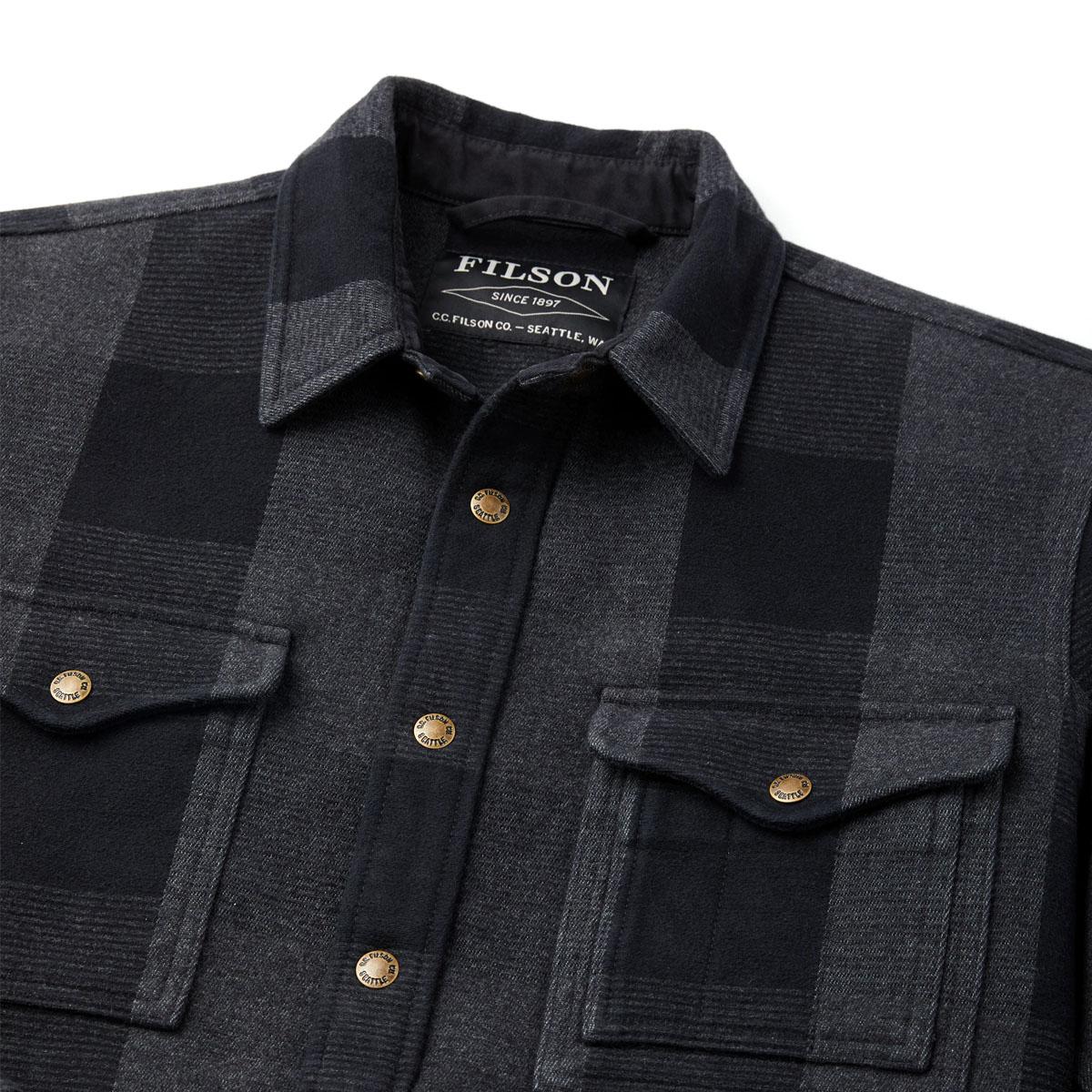 Filson Beartooth Camp Jacket Black/Gray Heather, Gefertigt aus dicker und warmer Double-Cloth-Baumwolle..