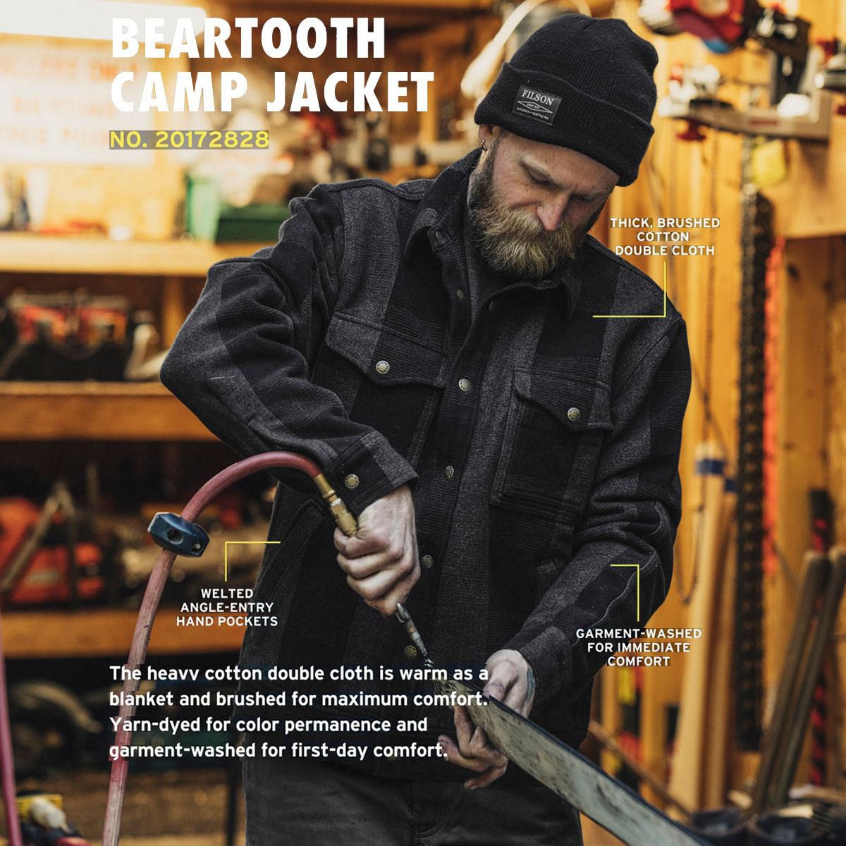 Filson Beartooth Camp Jacket Black/Gray Heather, Hergestellt aus schwerer Baumwolle, um kühles Wetter abzuwehren.
