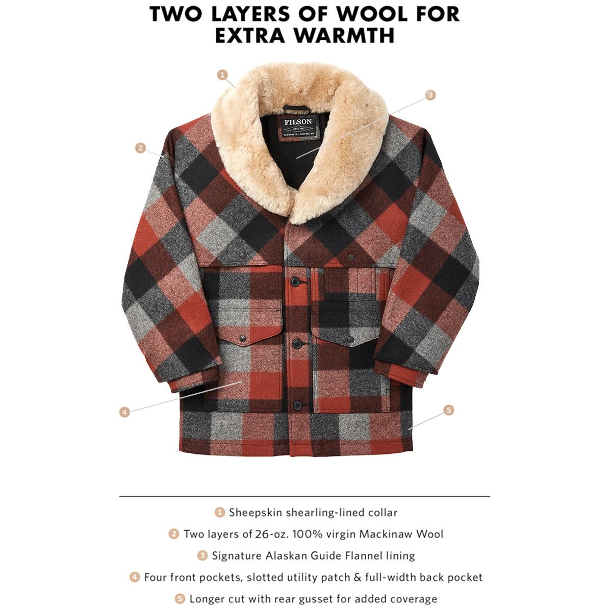 Filson Lined Wool Packer Coat Black/Charcoal/Rust, für Komfort, natürliche wasserabweisende Eigenschaften und isolierende Wärme bei jedem Wetter