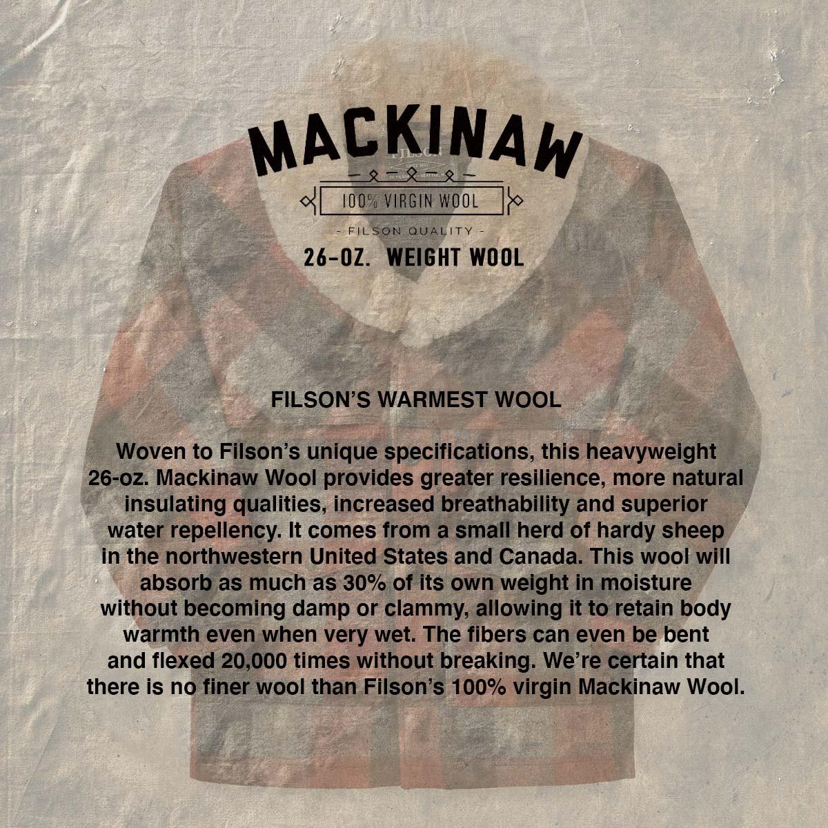 Filson Lined Wool Packer Coat Black/Charcoal/Rust,für Komfort, natürliche wasserabweisende Eigenschaften und isolierende Wärme bei jedem Wetter
