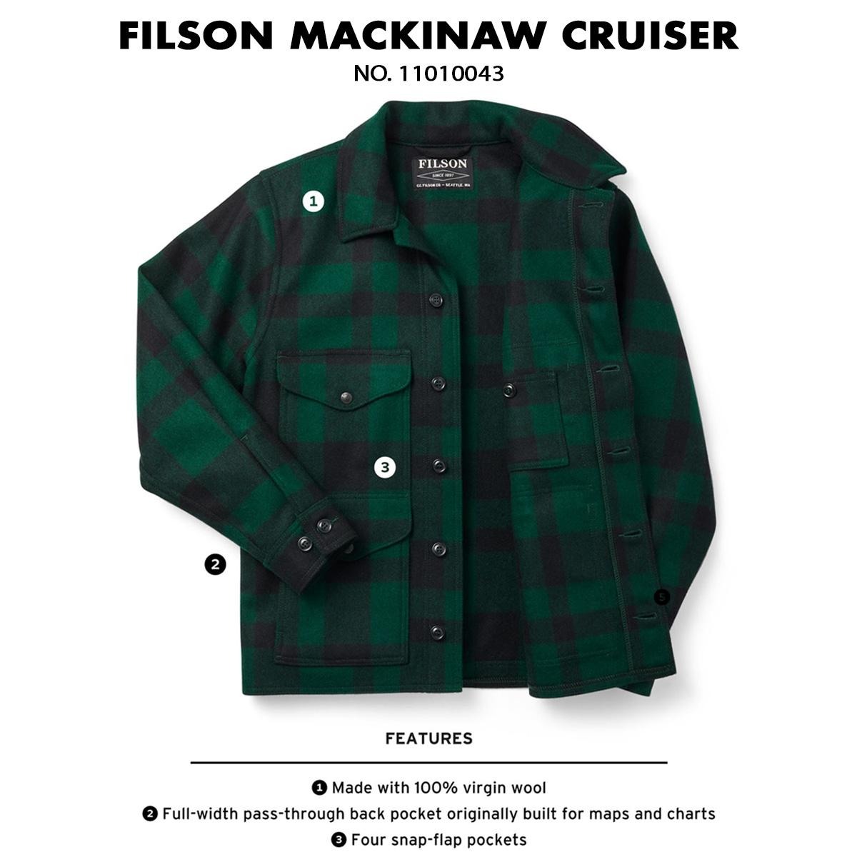 Filson Mackinaw Cruiser Jacket Green Black, patentiert in 1914 und noch immer gefragt, ist aus 100% virgin wool für mehr Komfort hergestellt