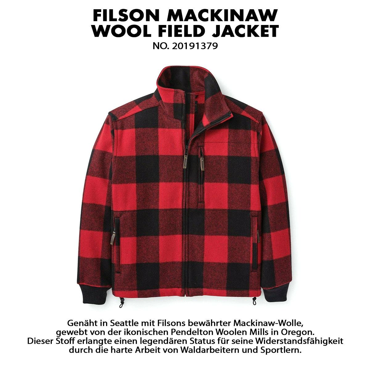 Filson Mackinaw Wool Field Jacket Red Black, für Komfort, natürliche Wasserabweisung und isolierende Wärme bei jedem Wetter.