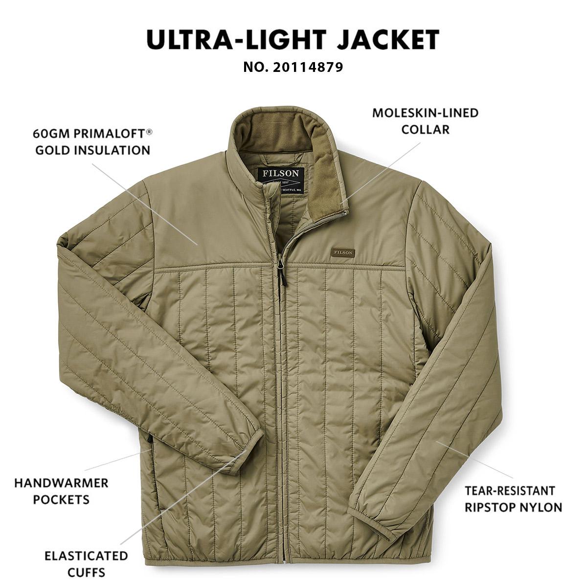 Filson Ultra Light Jacket Olive Branch, Ultraleichte PrimaLoft® Gold 60g Jacke mit außergewöhnlichem Wärme-Gewichtsverhältnis
