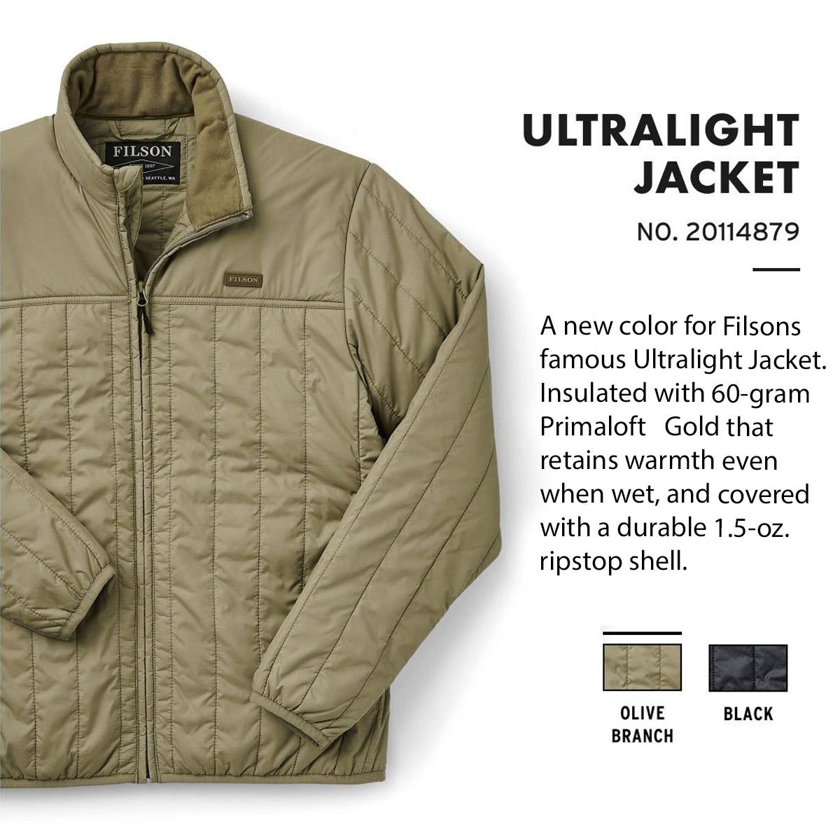 Filson Ultra Light Jacket Olive Branch, perfekt als äußere Schicht oder unter einer Jacke für Wärme bei extremer Kälte
