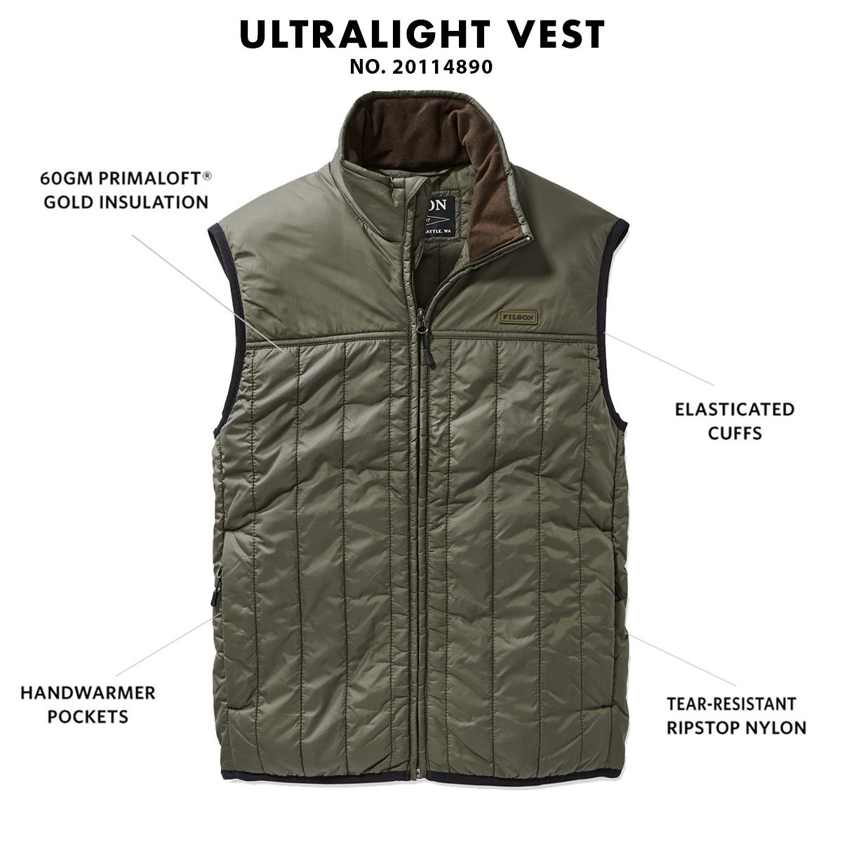 Filson Ultralight Vest Olive Gray, mit Cordura® Ripstop nylon und 60gm PrimaLoft® Gold insulation
