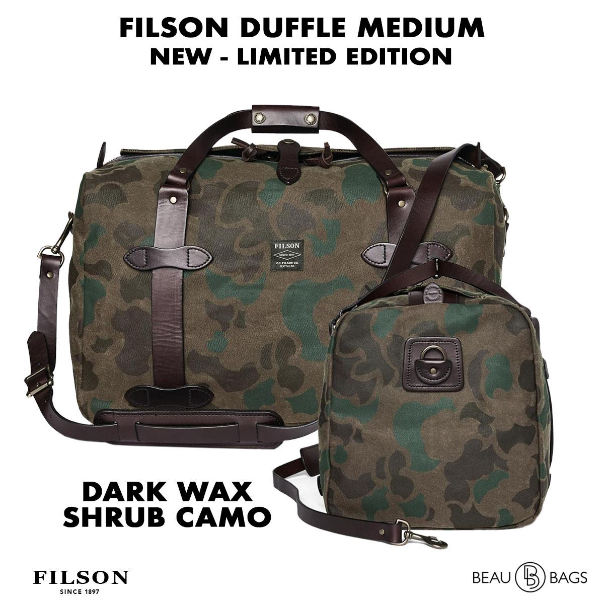 Filson Waxed Duffle Medium Dark Wax Shrub Camo, reisetasche hergestellt für Schwersteinsätze