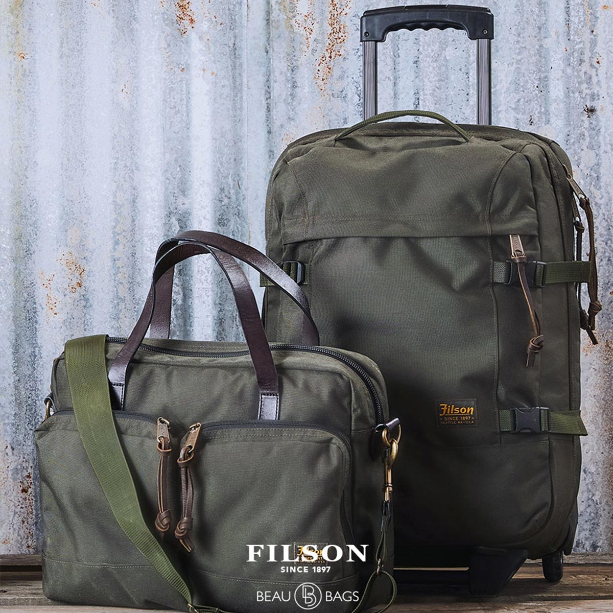 Filson Dryden Dryden 2-Wheel Rolling Carry-On Bag 20047728-Otter Green, Koffer hergestellt aus reißfestem ballistischem Nylon für jahrelanges, zuverlässiges Reisen