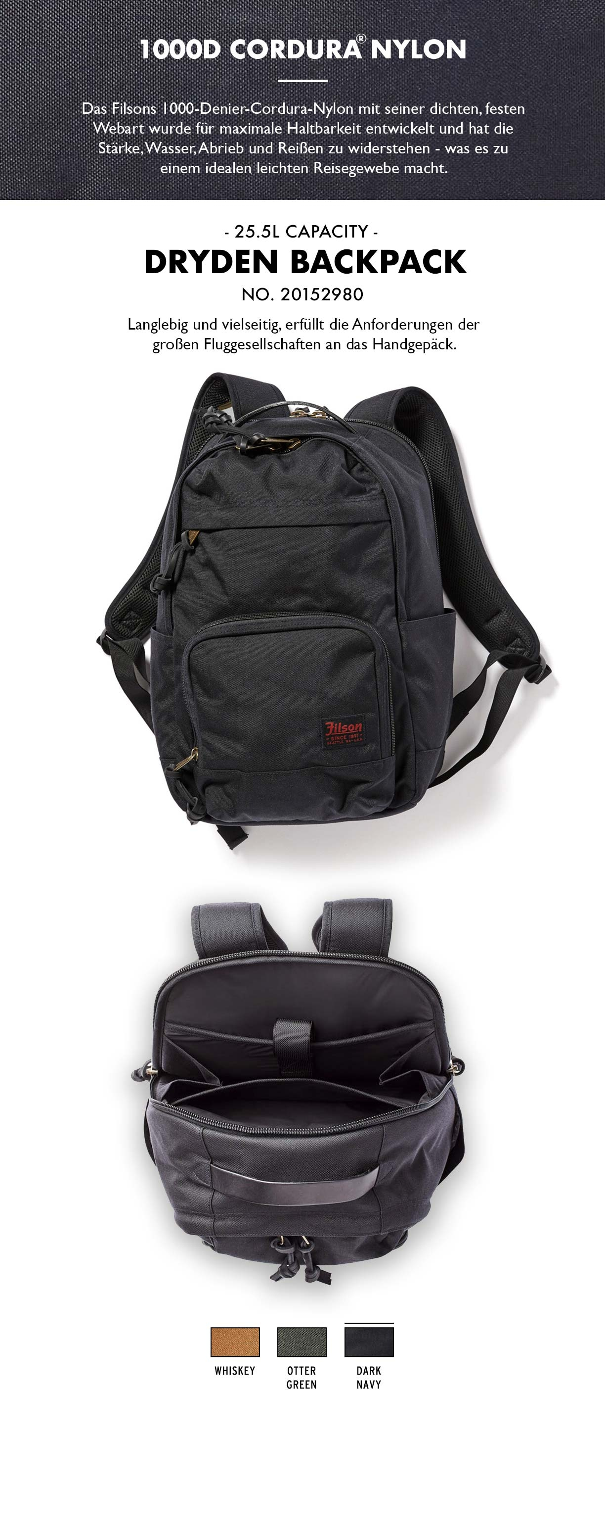 Filson Dryden Backpack Dark Navy Produkt-informationen