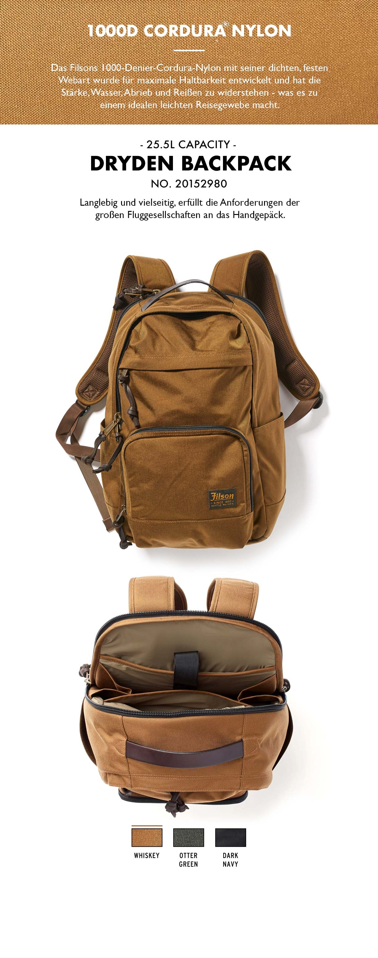 Filson Dryden Backpack Whiskey Produkt-informationen