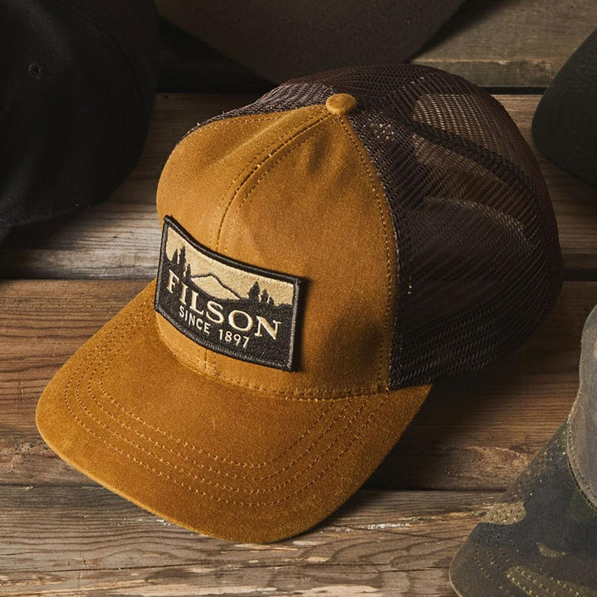 Filson Logger Mesh Cap 11030237-Dark Tan, strapazierfähige Kappe aus ikonischem, wasserabweisendem Tin Cloth
