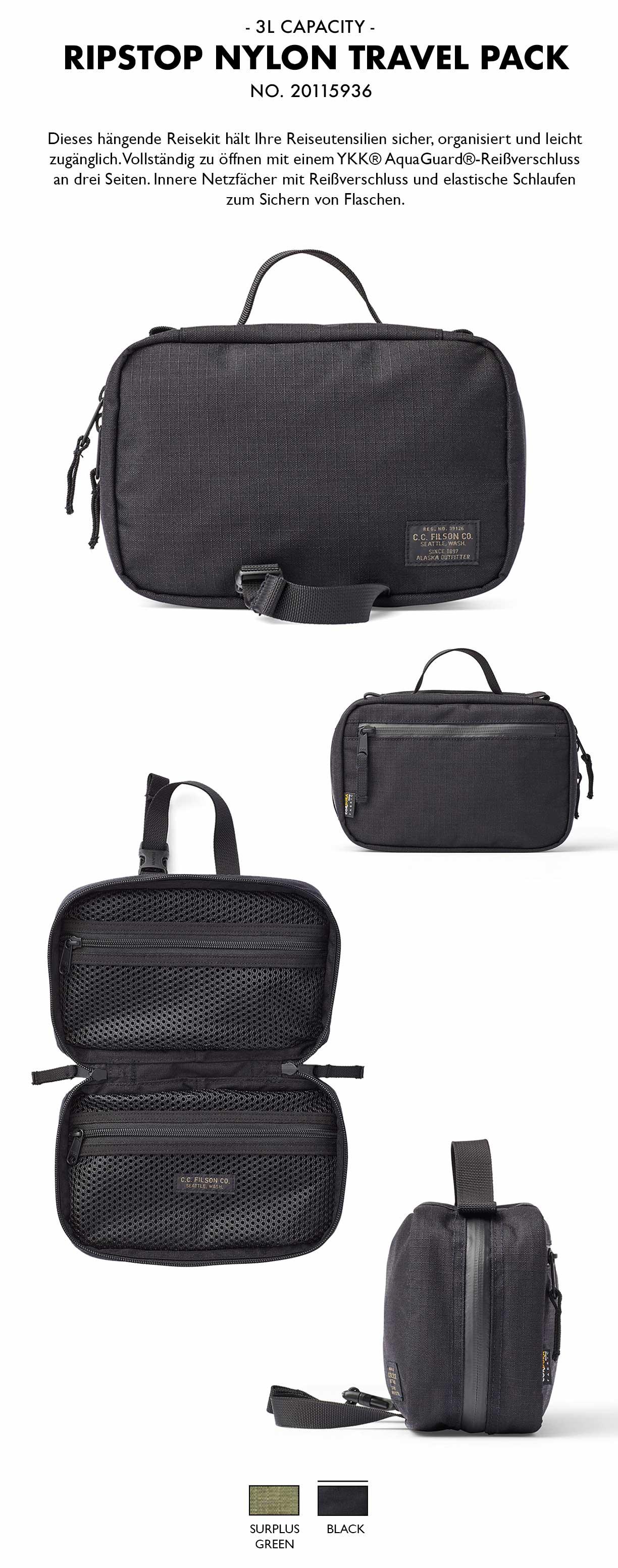 Filson Ripstop Nylon Travel Pack Black Produkt-informationen