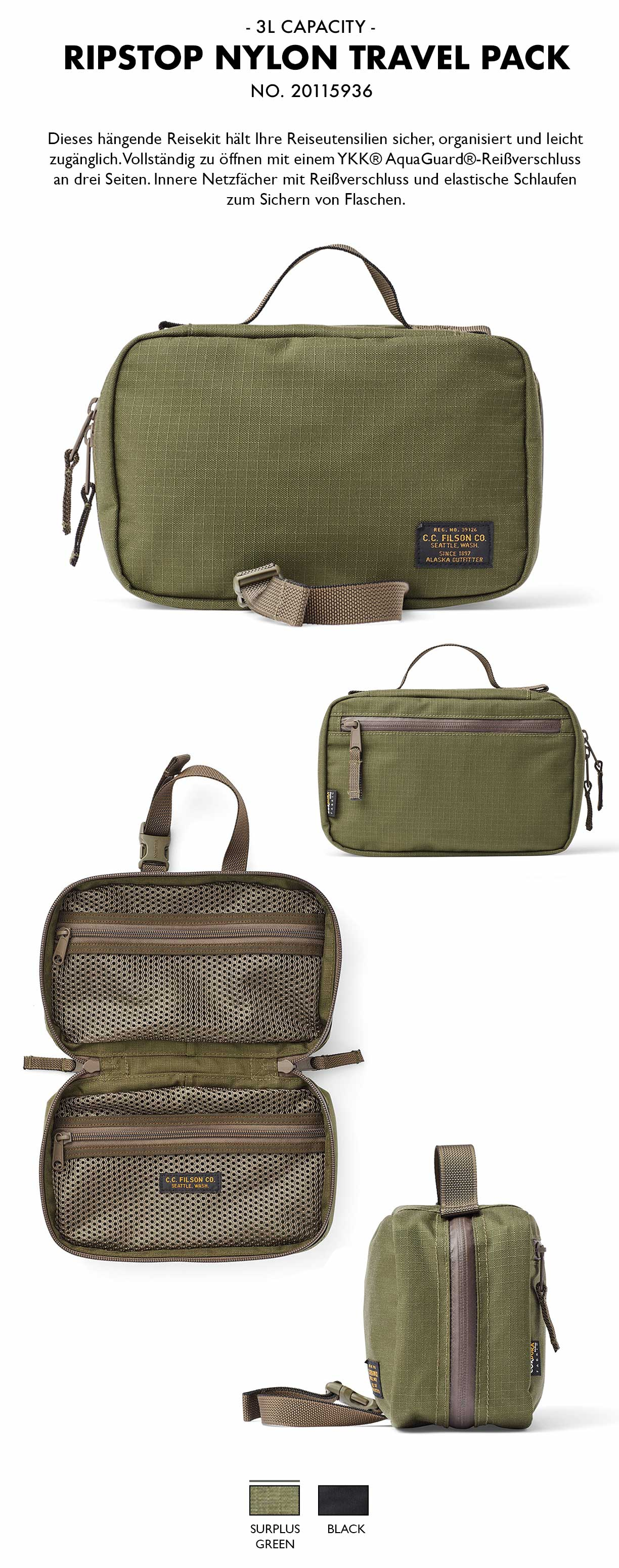 Filson Ripstop Nylon Travel Pack Surplus Green Produkt-informationen
