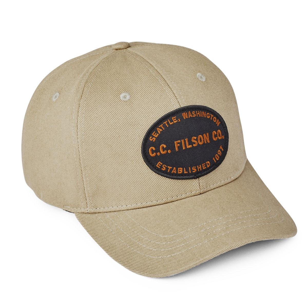 Filson Twill Logger Cap Beige, klassische 6-Panel Kappe, die vor Witterungseinflüssen schützt