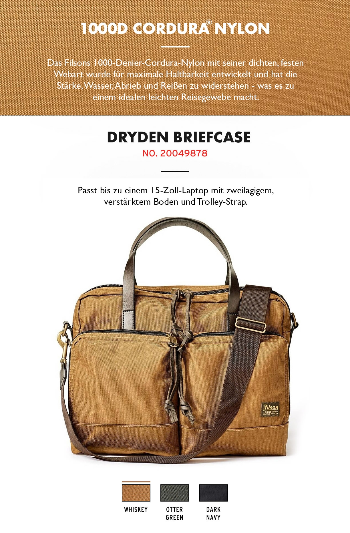 Filson Dryden Briefcase Whiskey Produktinformationen