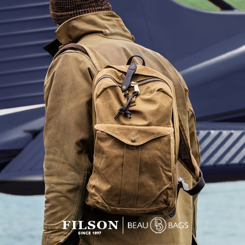Filson Journeyman Backpack 11070307 Tan, waterproof backpack that will last through decades of use, in any climate