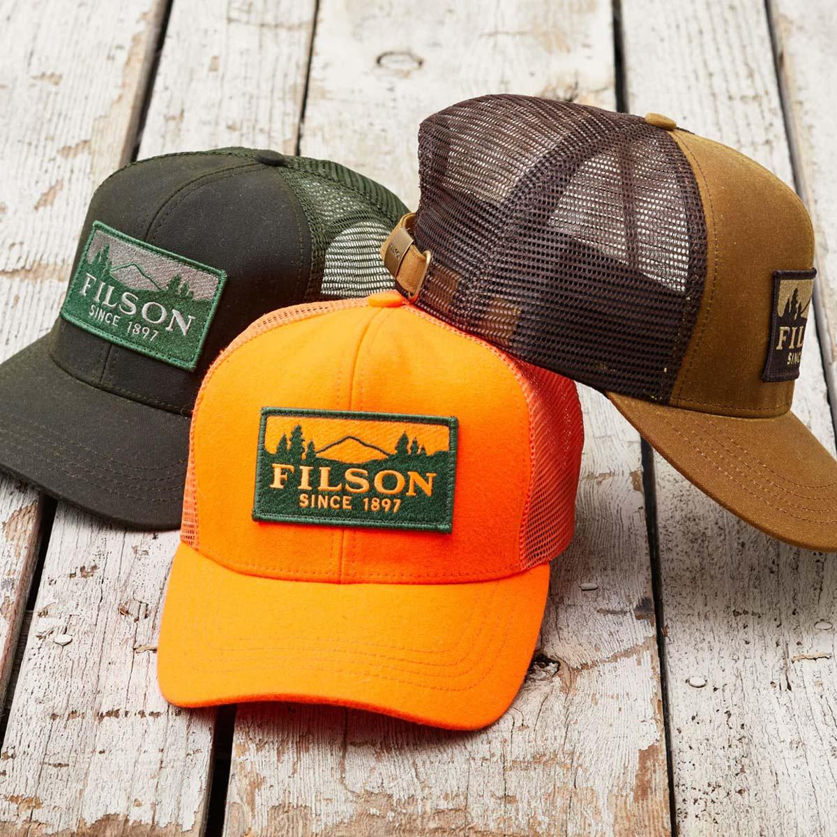Filson Logger Mesh Cap 11030237-Blaze-Orange, strapazierfähige Kappe aus ikonischem, wasserabweisendem Tin Cloth
