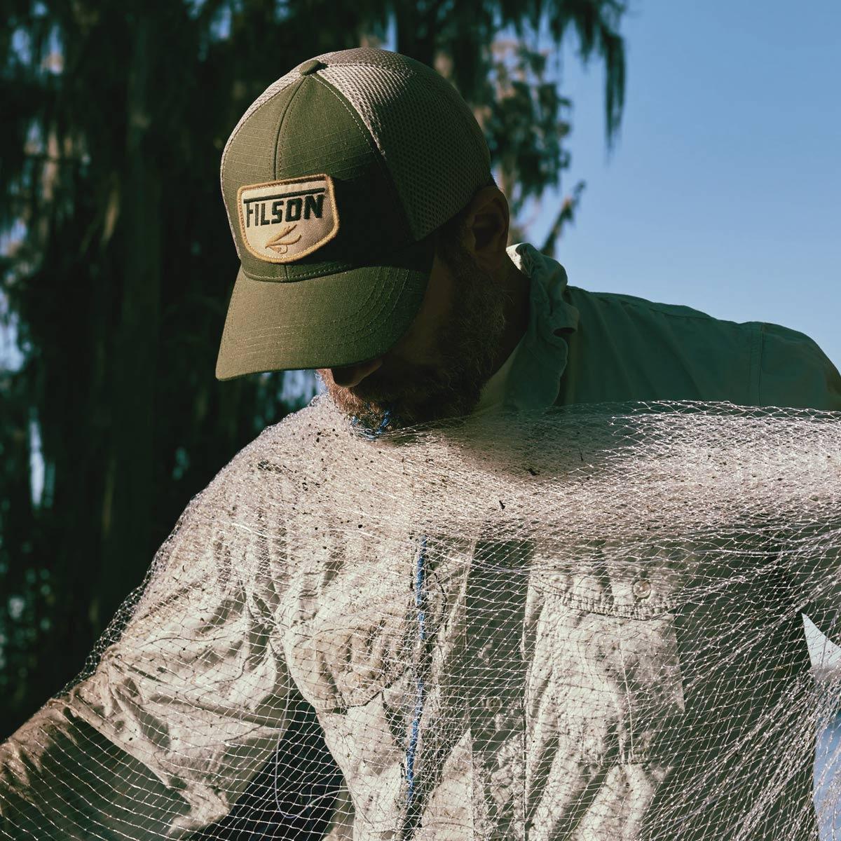 Filson Mesh Logger Cap 20157134-Olive, atmungsaktive Kappe mit Sonnenschutz Komfort, mit Filson gestickten Patch auf der Vorderseite