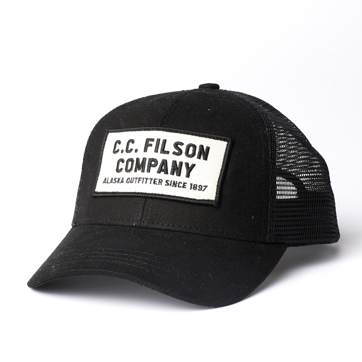Filson Mesh Snap-Back Logger Cap-Black, Robustes 6 Panel Logger Cap mit Mesh Panels für optimale Belüftung