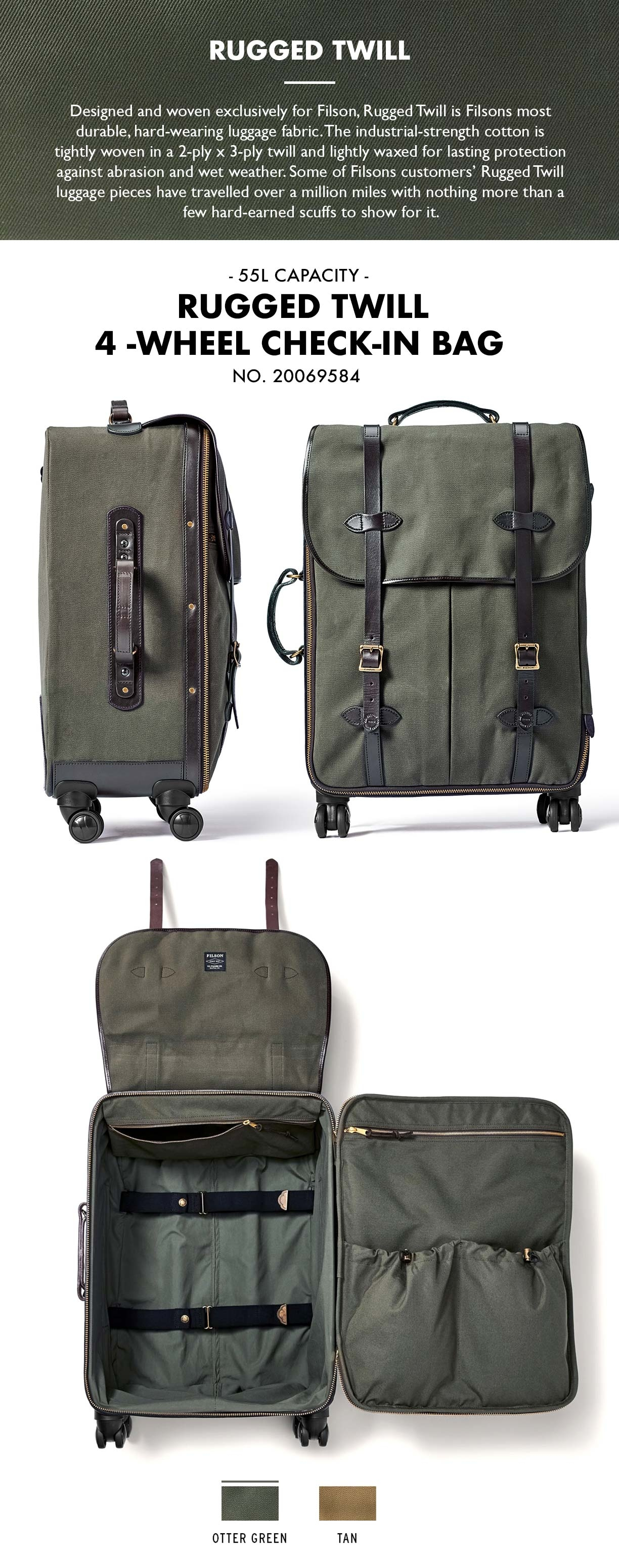 Filson Rolling 4-Wheel Check-In Bag Otter Green Product-information