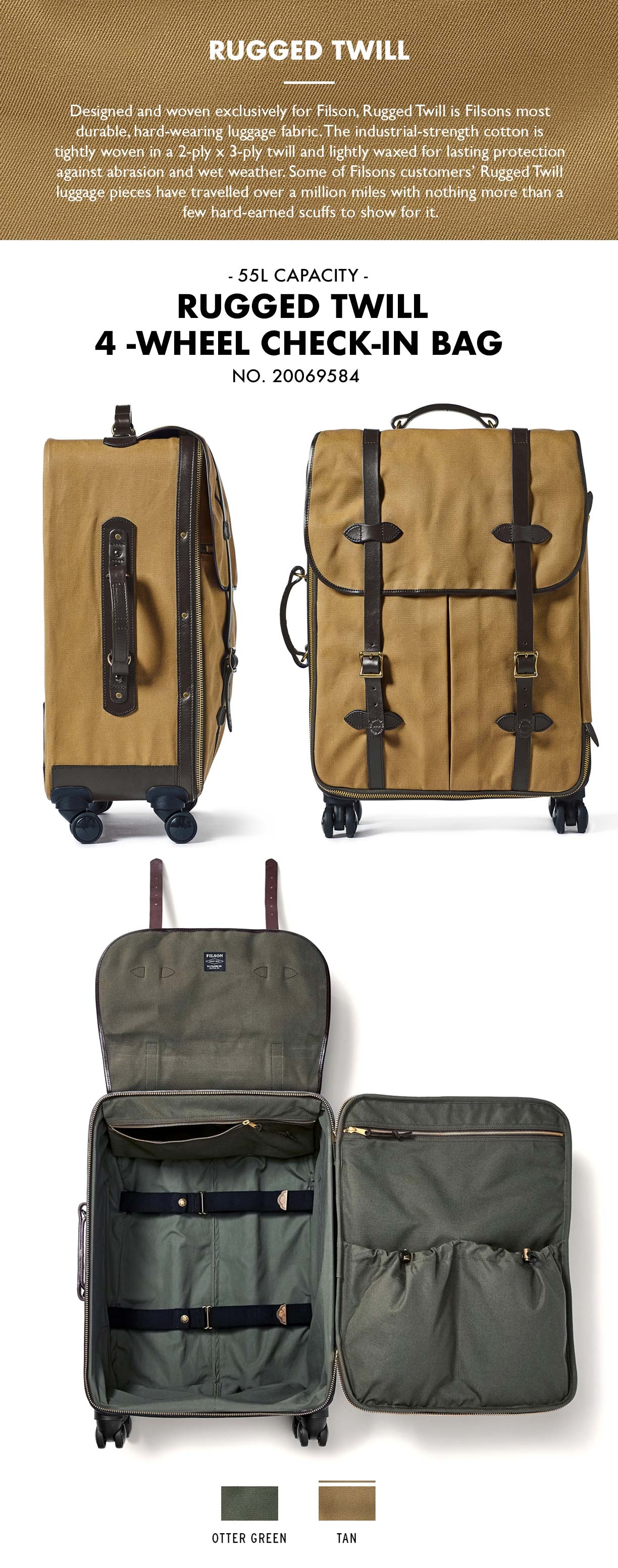 Filson Rolling 4-Wheel Check-In Bag Tan Product-information