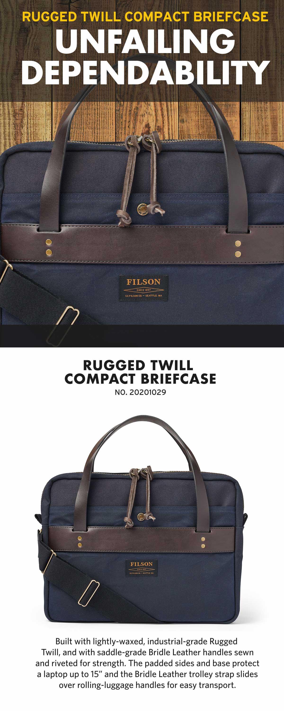 Filson Compact Briefcase Navy, schlanke Aktentasche, sehr gut verarbeitet und schön detailliert.