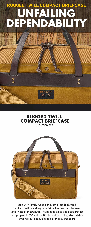 Filson Compact Briefcase Tan, schlanke Aktentasche, sehr gut verarbeitet und schön detailliert.