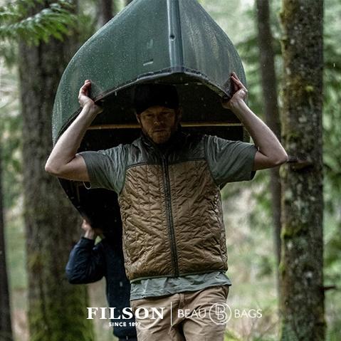 Filson Ultra Light Vest Field Olive, perfekt als Außenhülle oder unter einer dicken Jacke geeignet und sorgt für Wärme bei extremer Kälte